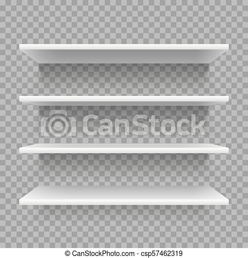 Modern Empty 3d Bookshelf Retail Shop Shelf On Wall White Shelves With Shadow Vector Set