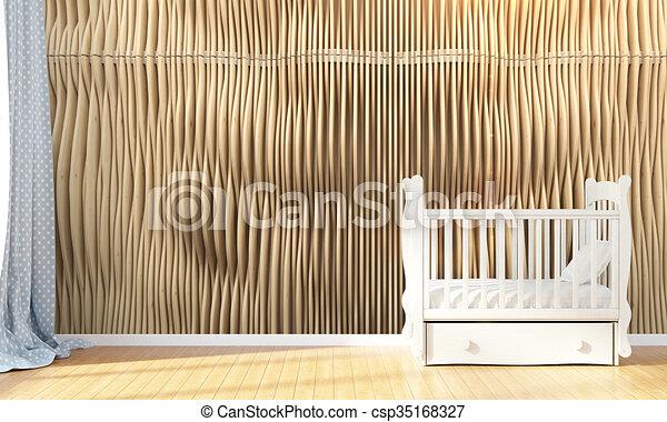 Modern empty children's room . 3D render - csp35168327