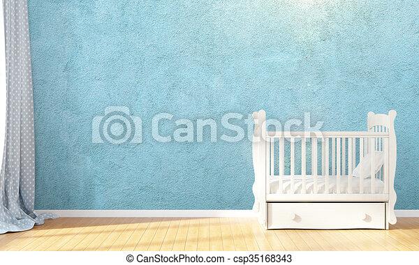 Modern empty children's room . 3D render - csp35168343