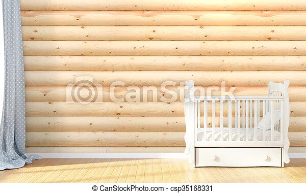 Modern empty children's room . 3D render - csp35168331
