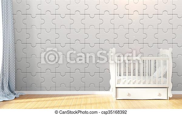Modern empty children's room . 3D render - csp35168392