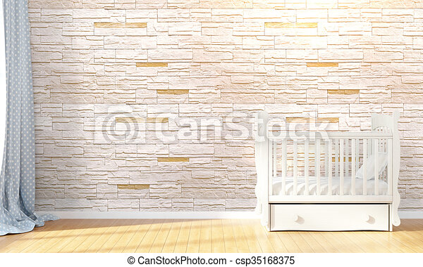 Modern empty children's room . 3D render - csp35168375