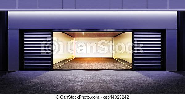 modern empty garage at night - csp44023242