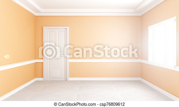 Modern Empty Living Room Interior Yellow Wall Mockup Background 3d Rendering