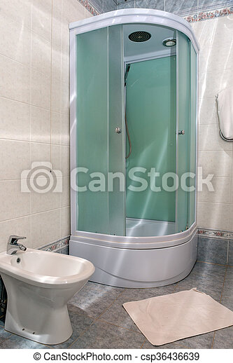 Modern En Suite Bathroom With Large Shower, Toilet And Wash Basin In Beige  Natural With Natural