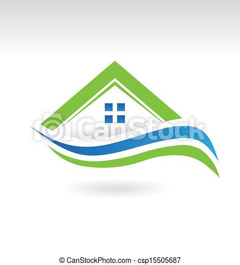 Modern Estate House Icon - csp15505687