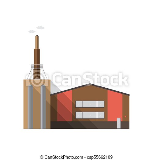 colorful contemporary modern industrial. Modern Factory Building With Pipe Emitting Smoke Isolated On White  Background. Manufacturing Plant Of Contemporary Colorful Modern Industrial