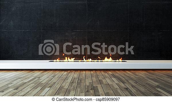 Modern fireplace design idea with dark concrete wall and wood parquet veneer flooring 3D rendering - csp85909097
