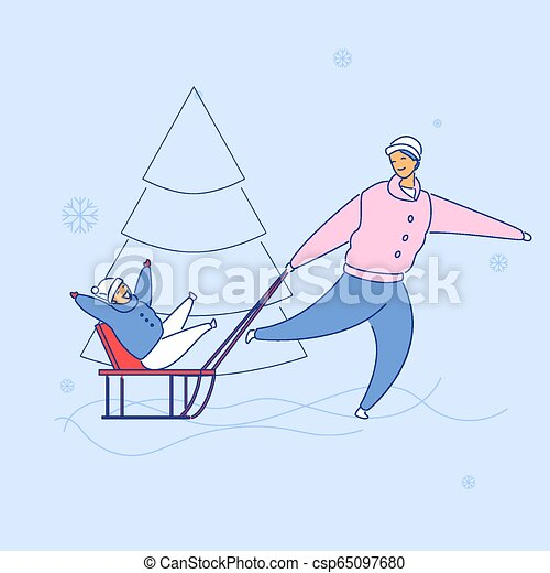 Modern flat cartoon characters family spending happy time together sledging, vector hand drawn style. Flat small people-smiling dad carry laughing cartoon boy on sleigh, playing winter sport outdoors - csp65097680