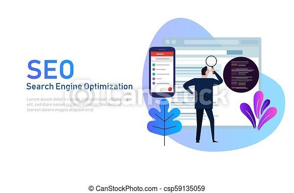 Modern flat design concept of SEO Search Engine Optimization for website  and mobile website  Landing page template  Edit analyze code