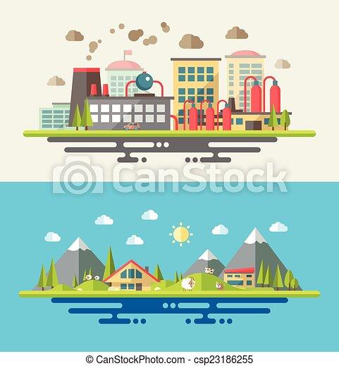 Modern flat design conceptual ecological illustration - csp23186255
