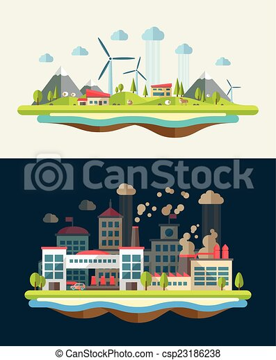 Modern flat design conceptual ecological illustration - csp23186238