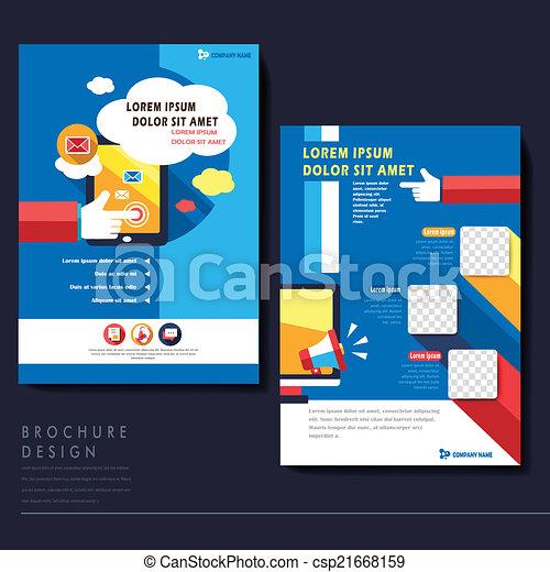 Modern Flat Design Flyer Template For Social Media Concept In Blue
