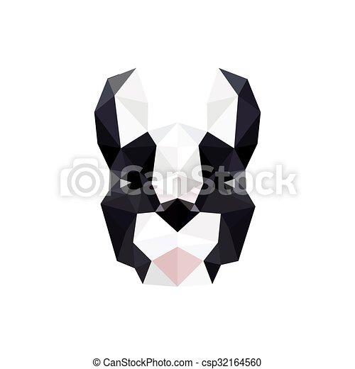 Modern Flat Design With Origami French Bulldog