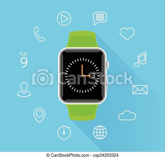 Modern flat green smartwatch with app icons on blue background - csp34203324