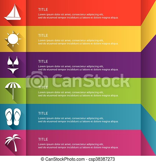 Modern flat infographic template with holiday icons, graphic concept for your travel website and press materials - csp38387273