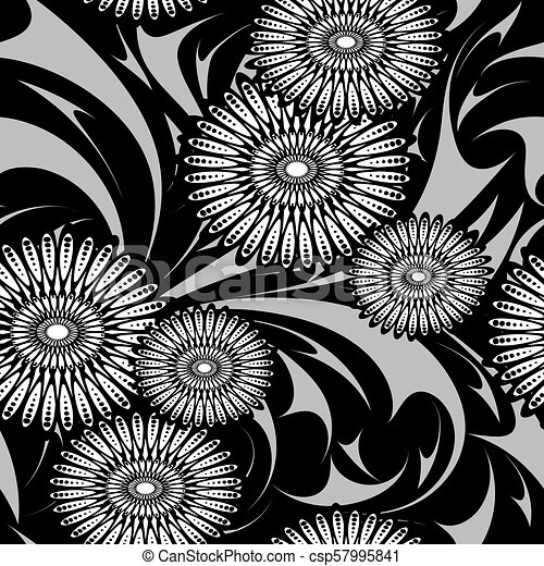 Modern Flowers Vector Seamless Pattern Black And White Floral