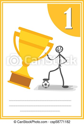 Modern footbal certificate with place for your content, for kids ...