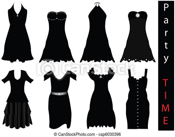 Vector Illustration Of Modern Formal Dresses New Fashion