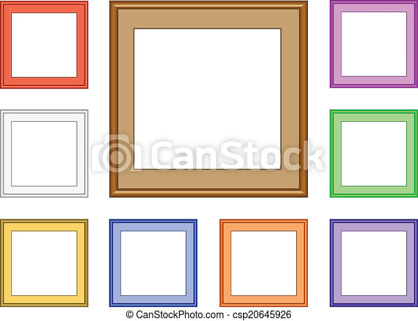 Modern frame-square. 9 colorful square frames for collection image ...