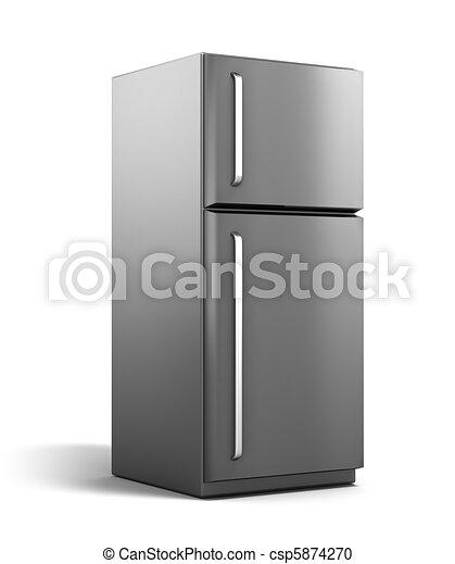 Modern, freigestellt, kühlschrank. Eigen, modern,... Stock ...