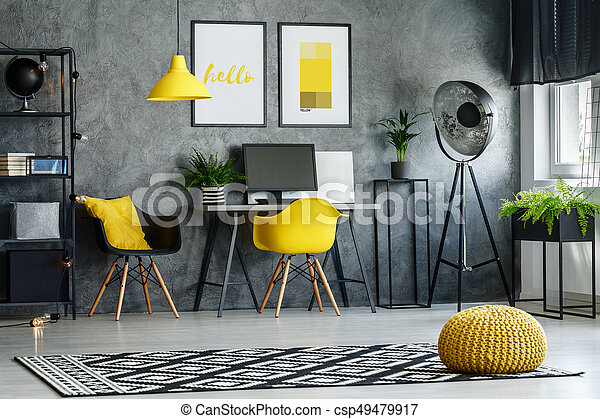 Modern Furniture And Yellow Accents Gray Room With Patterned Carpet Plants Modern Furniture Yellow Accents Canstock