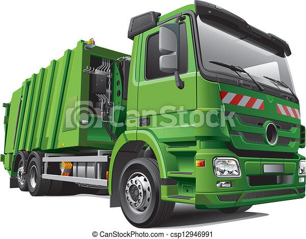 modern garbage truck - csp12946991