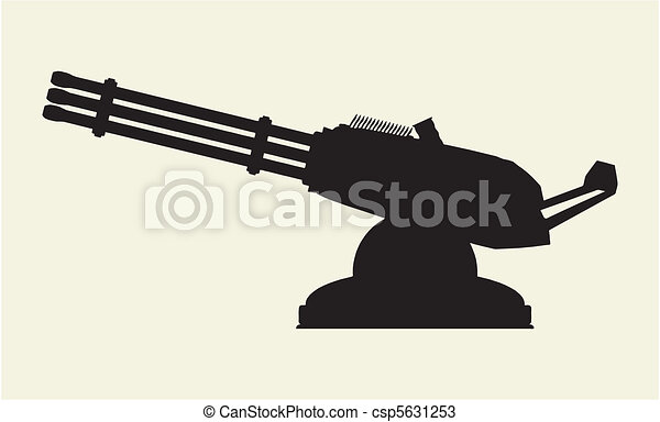 Line Art Illustration Style : Modern gatling style machine gun vector vectors search clip art