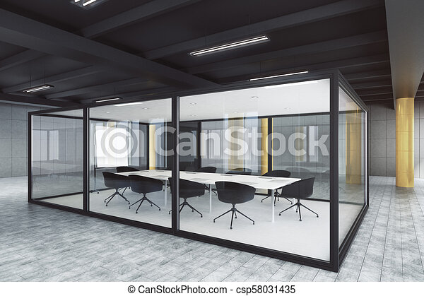 Modern Glass Meeting Room Interior Design And Style Concept 3d Rendering Canstock