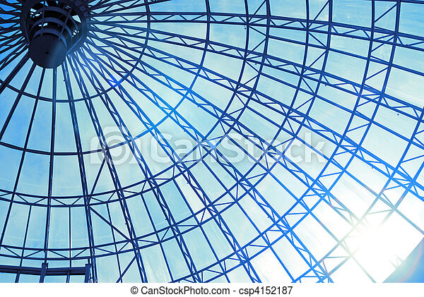 Modern glass roof with blue sky and sun - csp4152187