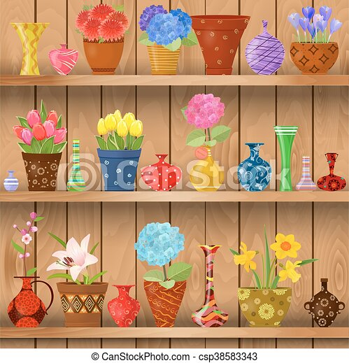 Modern Glass Vases And Flowers Planted In Art Pottery Pots On Wooden