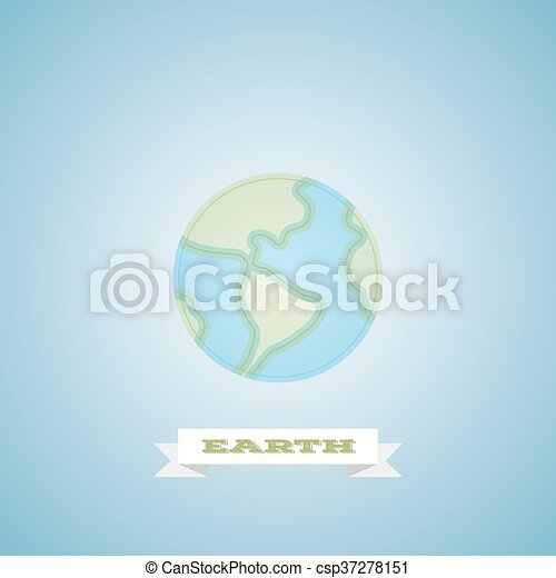 Modern globe earth logo thin line for web and mobile, minimalistic linear flat design. Vector icon on blue light background - csp37278151