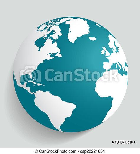 Modern globe. Vector illustration. - csp22221654