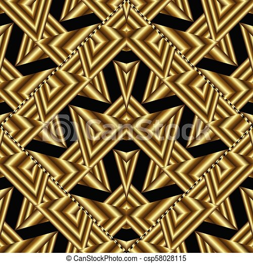 Modern Gold Geometric Seamless Pattern Abstract Black Backgroun
