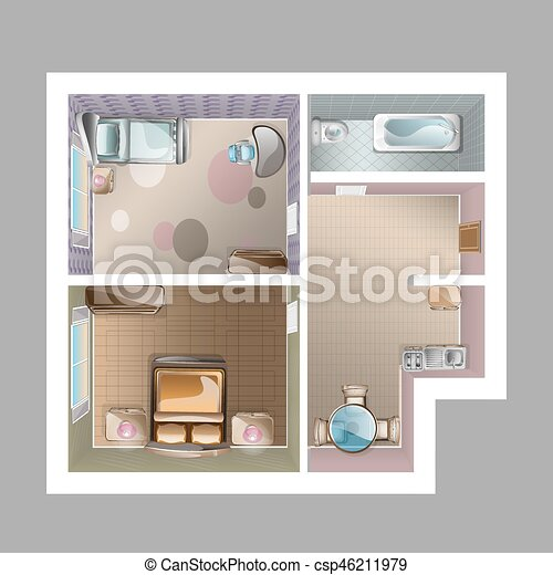 Modern Graphic Apartment Top View