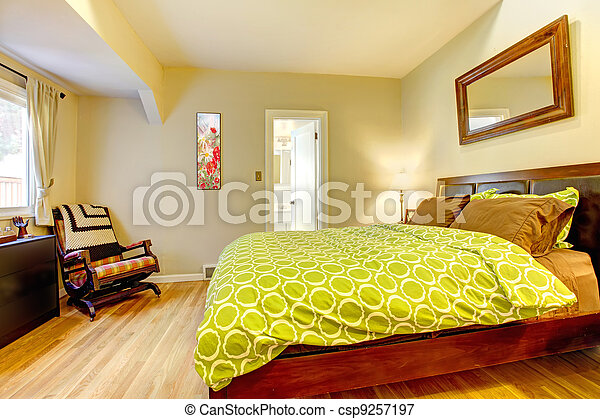 Modern Green And Beige Bedroom With Brown Bed Modern Bright Green And Beige Bedroom With Brown Bed Canstock