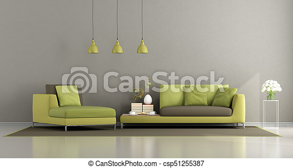 Modern green and brown living room