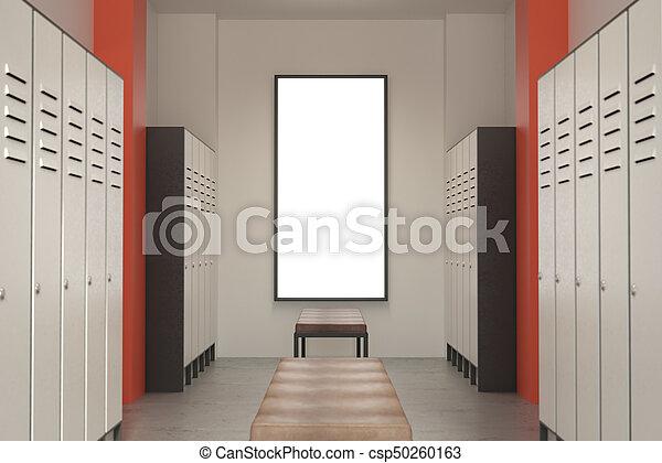 Modern green locker room with signboard - csp50260163