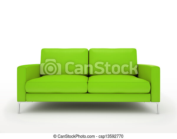 Modern green sofa isolated on white background - csp13592770