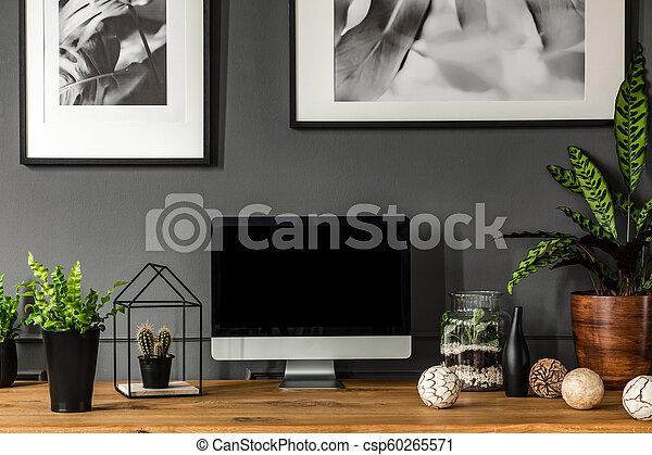 Modern grey workspace interior - csp60265571