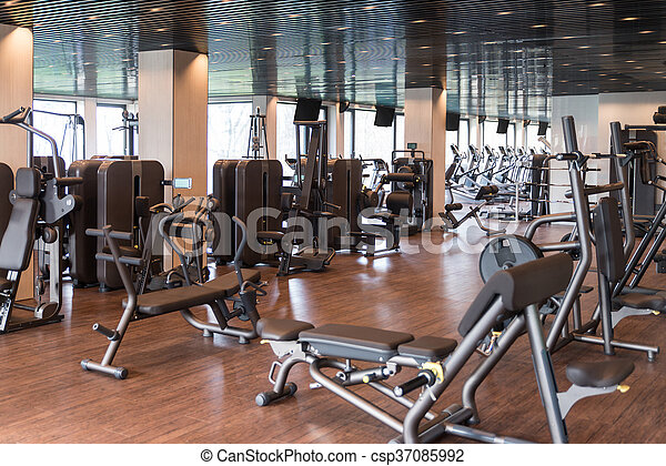 Modern Gym Interior With Equipment - csp37085992