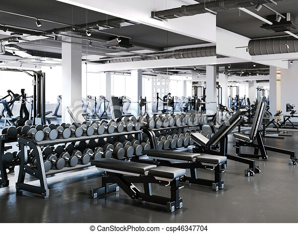 Modern gym with dumbbell set d rendering modern gym with
