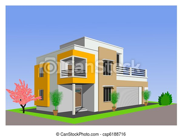 Stock Illustration of modern home architecture against bl Vector