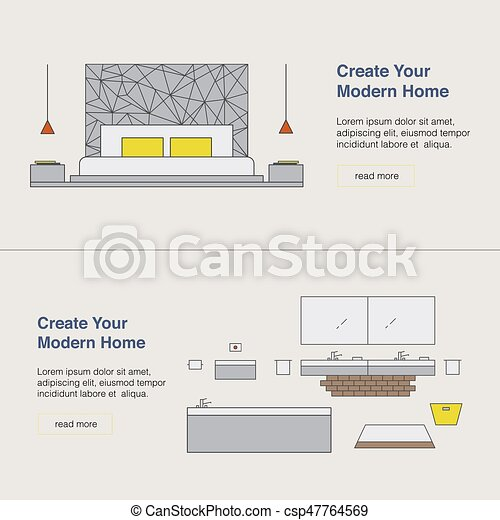 Modern Home Design Template With Illustration Interior Design Web Banner Home Pages Design Concept