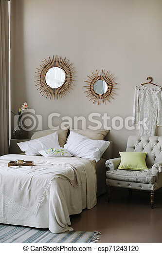 Modern Home Interior Design Bed With And Pillows Blanket Girl S Bedroom Interior Scandinavian Style Elegant Fashionable Canstock