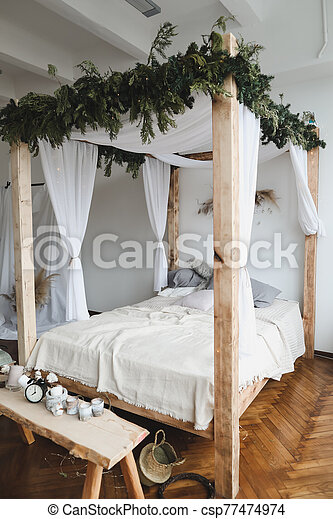 Modern Home Interior Design Cozy Bed With Wooden Canopy And Pillows Blanket Bedroom Interior Scandinavian Style Home Canstock