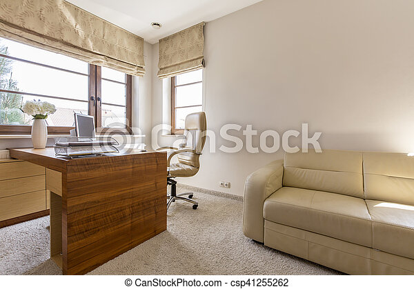 Modern home office interior. horizontal view of modern home office