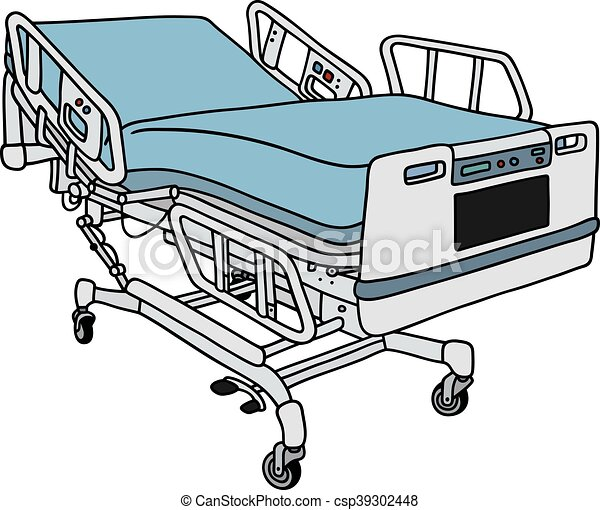 Hand drawing of a modern hospital bed eps vector - Search ...
