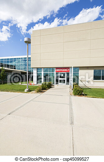 Modern Hospital Building With Emergency Entrance - csp45099527
