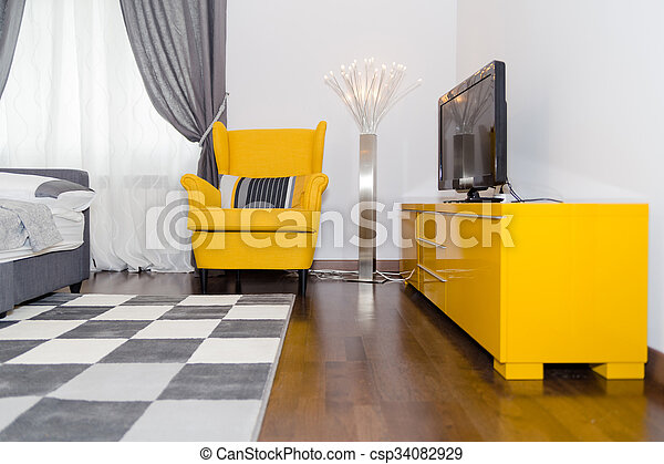 Modern Hotel Apartment With 3d Living Room And Bedroom Interior White Walls Luxury Livingroom With Sofa And Armchair In